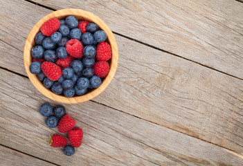 Blueberries and raspberries