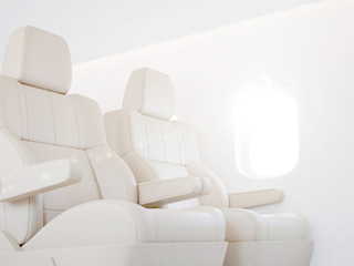 Bright airplane interior