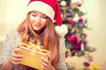 Happy Surprised Girl With Christmas Gift Box