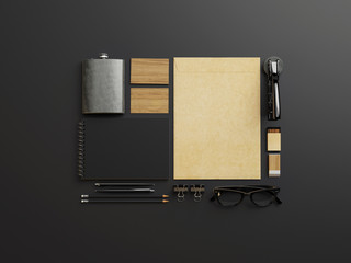 Set of black and craft branding elements