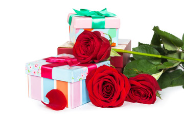 Colorful gift boxes and roses