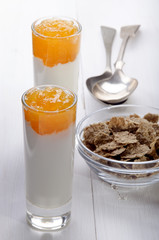 apricot compote with organic yogurt