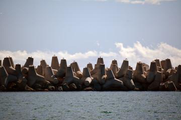 Concrete waterbreaks in the sea water