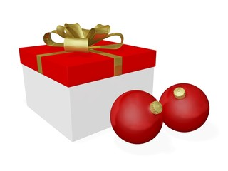 Red Christmas Balls Baubles and Gift Box