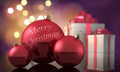 3 Rote Weihnachtskugeln mit Geschenken