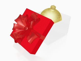 Golden Christmas Bauble Ball in Gift Box