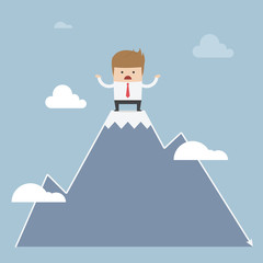 Man stuck on the top of mountain, stock market concept