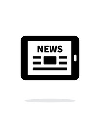 Online news. Tablet PC newspaper icon on white background.