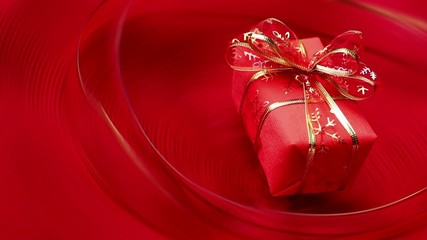 Gift box on red background loop