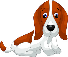 Cute basset hound dog cartoon