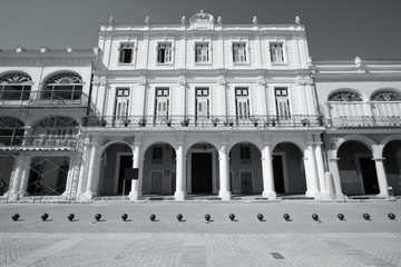 Retro Havana. Black and white photo.