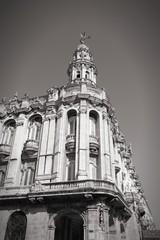 Great Theatre in Cuba. Black and white photo.