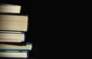 books on a dark background