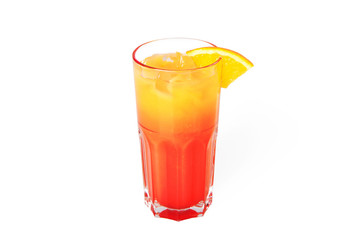 Tequila sunrise cocktail with ice. Isolated on white background
