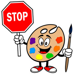 Art Palette with Stop Sign