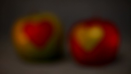 Apples in the shape of hearts.Variable focus