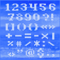 Knitted vector alphabet, bold serif numbers and punctuation.