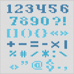 Knitted vector alphabet, serif numbers and punctuation.