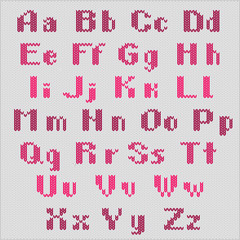 Knitted vector alphabet, red bold sans serif letters.