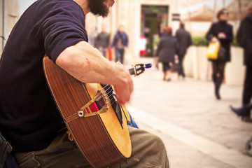 guitarist playing on the street