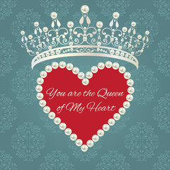Damask pattern with tiara and heart of pearls with sample text