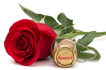 rote Rose mit Champagnerkorken - Auszeit
