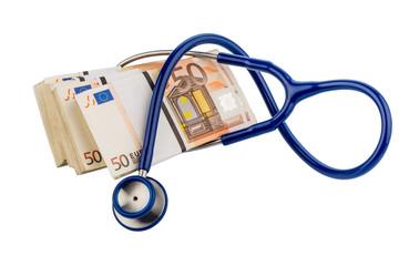 Stethoskop und Eurobanknoten