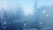ice on frozen window texture with snowflakes for background