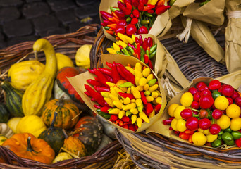 Colorful Vegetables on a Marketplace, Rome, Italy