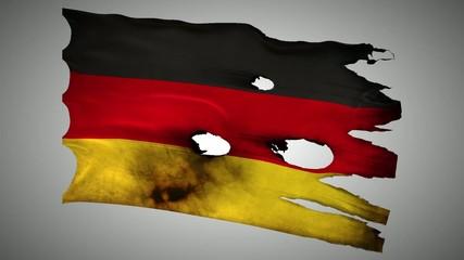 Germany perforated, burned, grunge waving flag loop alpha