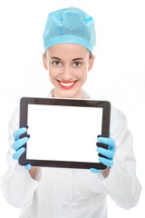 Doctor with tablet on white background