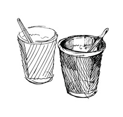sketch of two paper cup