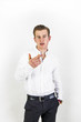 smart looking teenage boy in white shirt