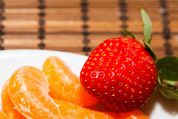 Strawberry and Mandarin on a Plate