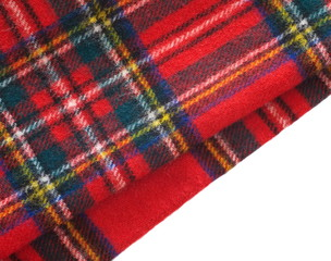 close - up Warm knitted scarf red
