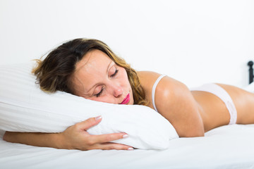 Middle-aged woman sleeping