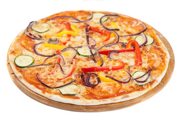 home made vegetable pizza on white
