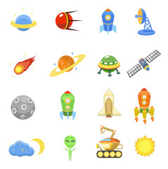 Space icons set of rocket  galaxy  planet ufo  illustration