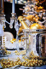 Christmas table setting with champagne