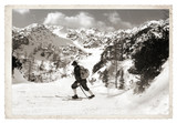 Skier with vintage skis