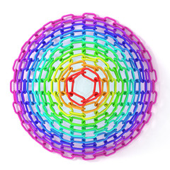 Colorful concentric circles made of chain, isolated on white.