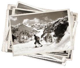 Vintage photos with vintage skier