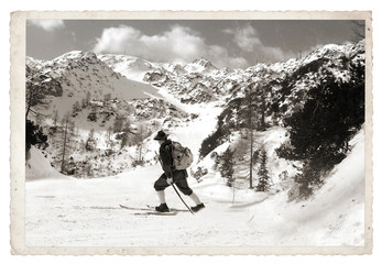Skier with vintage skis