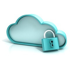 Cloud lock 3d computer icon isolated