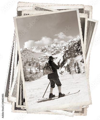 Vintage photos with vintage skier