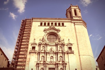 Girona Cathedral. Cross processed color tone.