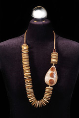 Leather necklace and stone