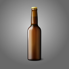 Blank brown realistic beer bottle isolated on grey background