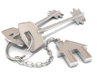 Two house door keys and house key-chain on white background