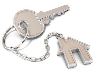 House door key and house key-chain on white background